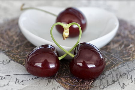 three cherry fruits